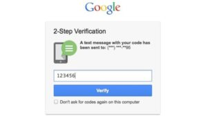 A screenshot of google two-factor authentication in use