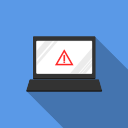A laptop with an error message representing a cyber attack