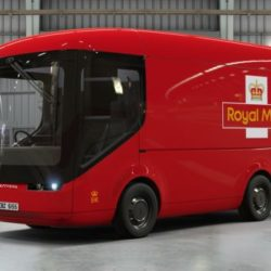 A red van, the new electric model being used by the Royal Mail