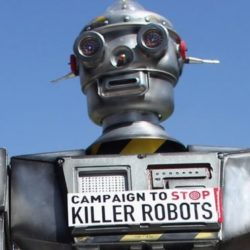 A protest against using robots for deadly purposes