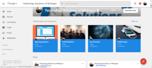 A screenshot of the Technology Solutions of Michigan Google Plus Page